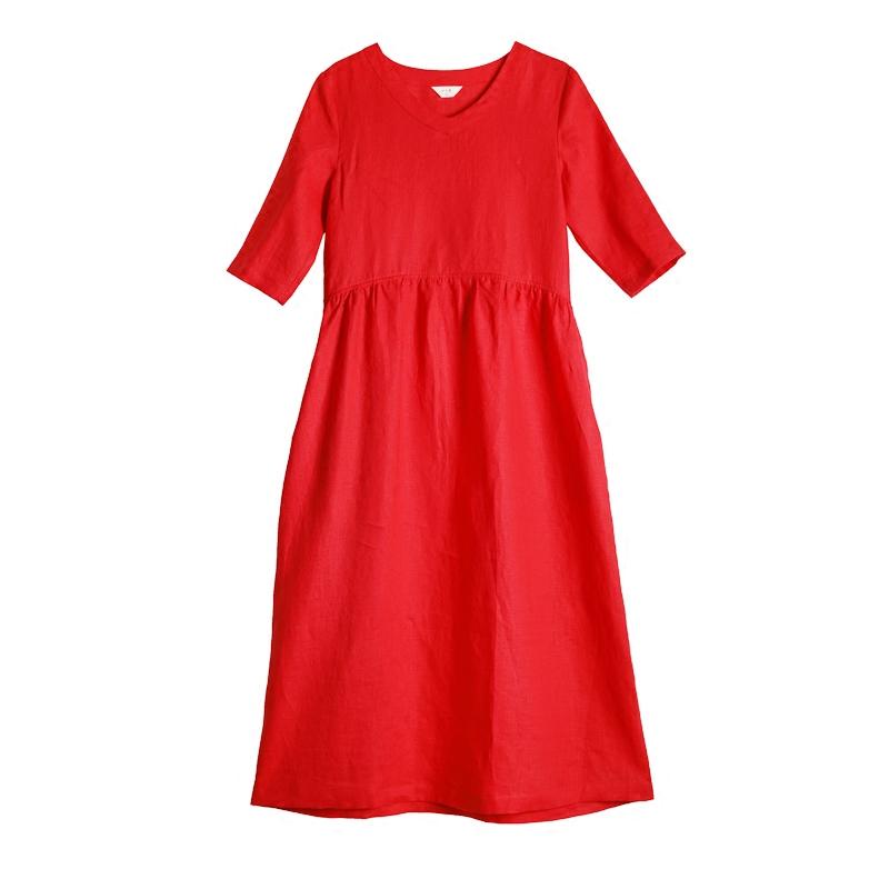 【红曲】十木米原创2019夏款旅行文艺亚麻红色沙滩棉麻连衣裙