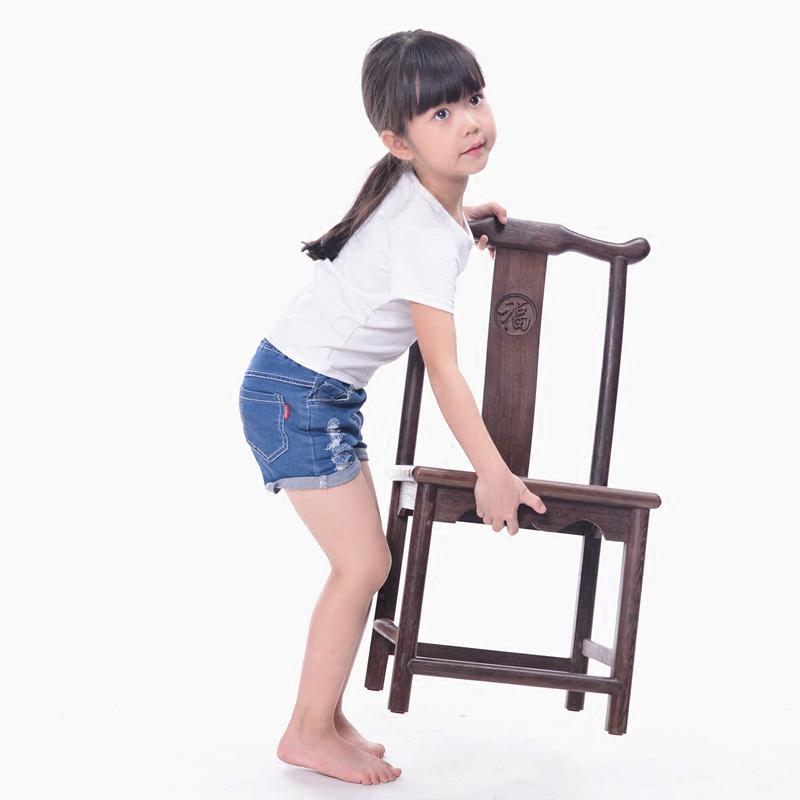 雞翅木仿古官帽椅 時尚實木休閒椅兒童椅子靠背小板凳換鞋凳矮凳