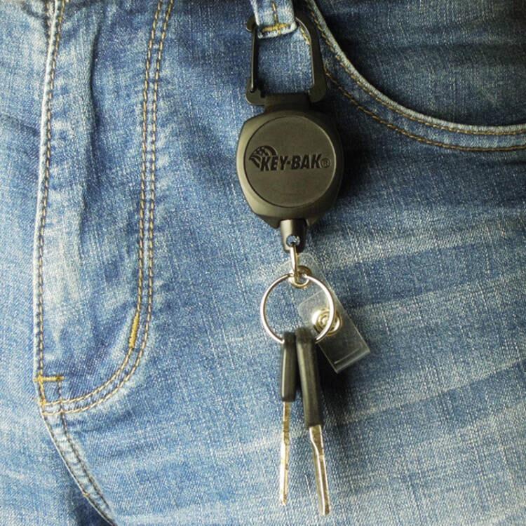 美國KEY-BAK 凱夫拉可伸縮證件夾鑰匙扣 可拉伸60CM長快掛鑰匙鏈