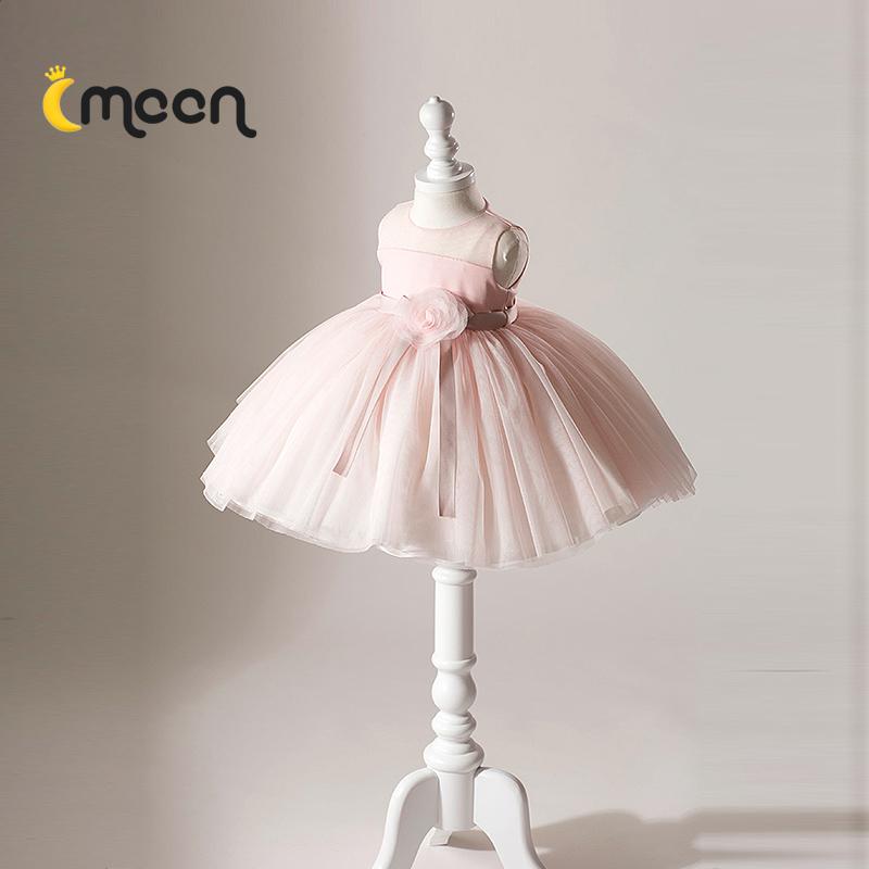 粉色儿童公主裙婚纱小花童礼服女婚礼宝宝周岁生日女童蓬蓬纱洋气
