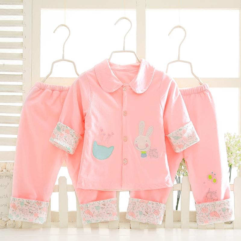婴儿双层纯棉夹衣0-1岁薄款女宝宝春秋外套外出服新生儿三件套装