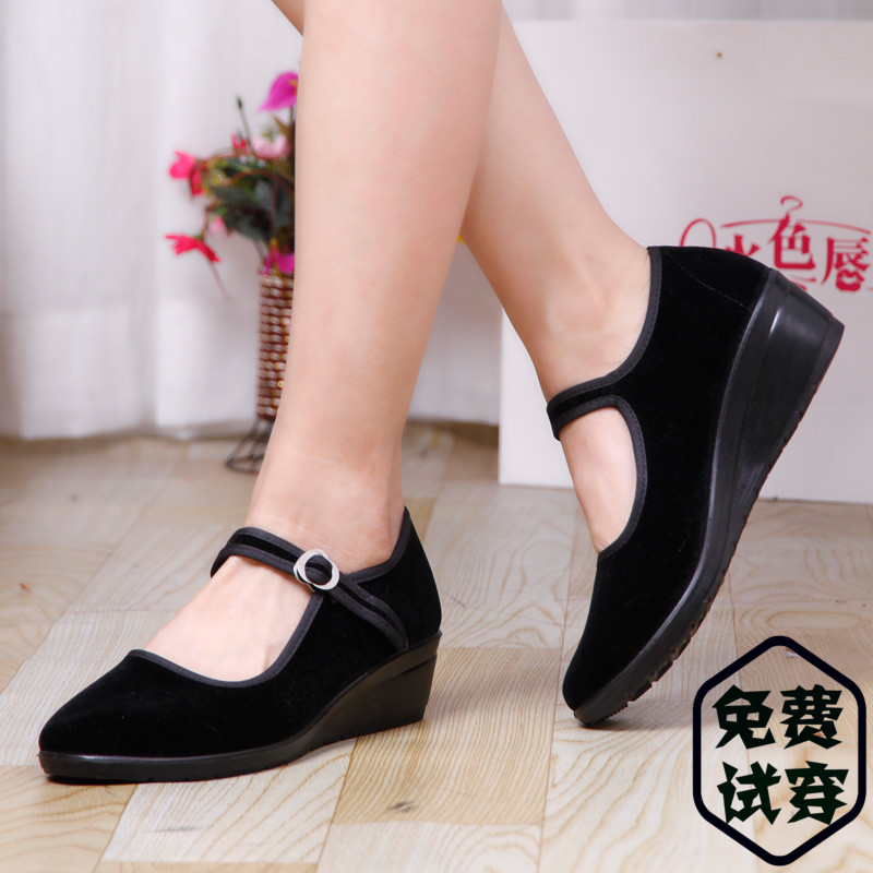 正品老北京布鞋女鞋單鞋廣場跳舞鞋黑色平絨坡跟鞋酒店職業工作鞋