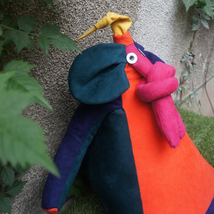撞色紫橙 三角系列之大象 创意礼品 蒸汽精灵