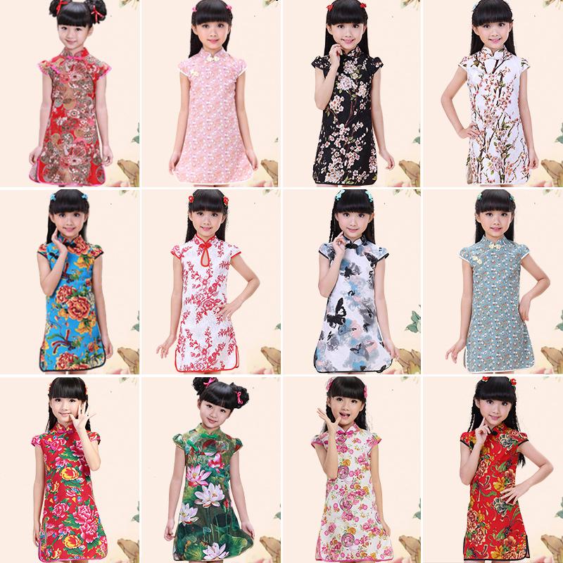 儿童旗袍夏 女童装复古中国风棉麻公主唐装裙 小孩女孩中式连衣裙