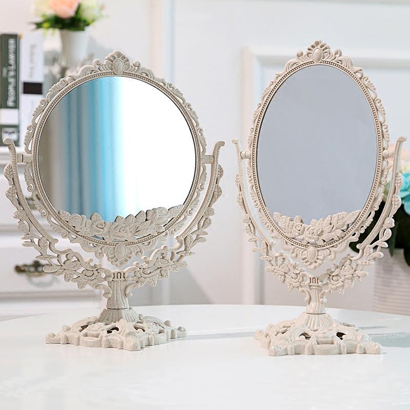 简约欧式美容镜 台式化妆镜双面梳妆镜子便携公主镜化妆镜折叠
