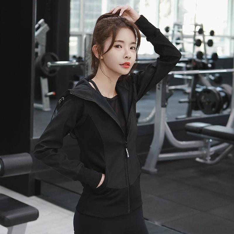 新品帅气弹力运动外套修身卫衣女BF风韩版健身长袖跑步瑜伽服上衣