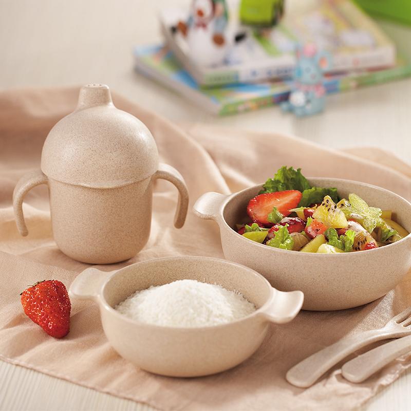 愛思得小麥纖維兒童用餐具小孩子碗寶寶水壺勺子叉子防摔小孩餐具