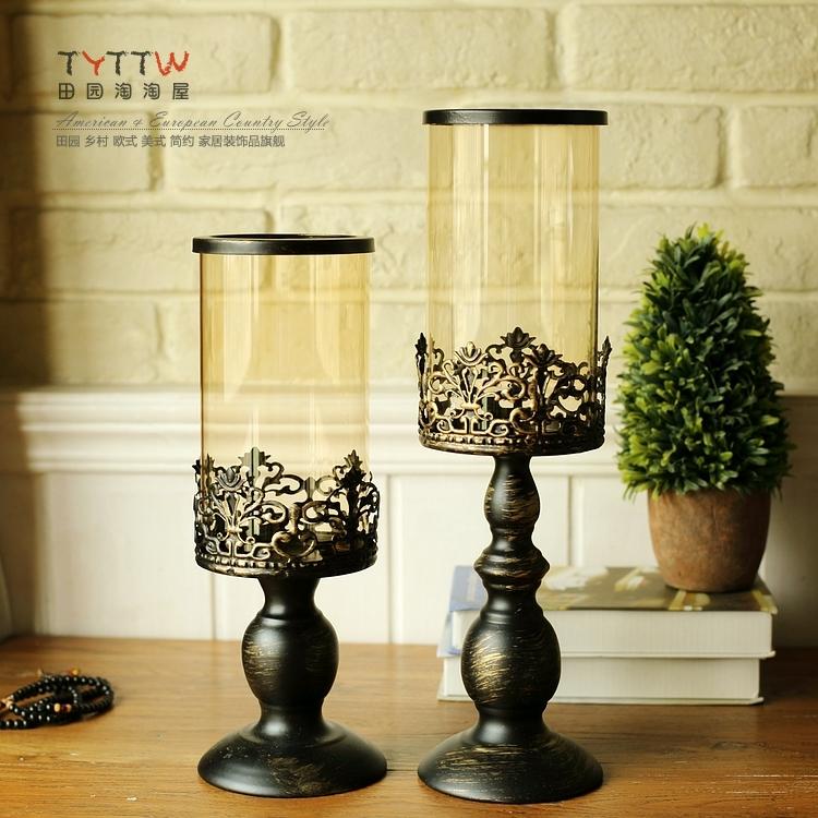 歐式復古鐵藝玻璃燭臺美式鄉村餐桌 樣板房裝飾婚慶風燈燭臺