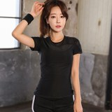 Fitness sexy summer gauze short-sleeved T-shirt female sports running quick-drying T-shirt high-elastic thin thin short-sleeve yoga clothes