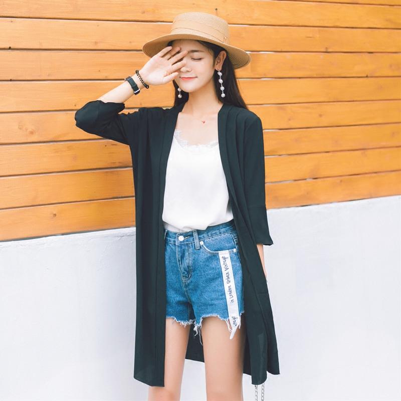 防晒衫外搭仙女防晒衣女外套2019新款中长款雪纺空调开衫夏季薄款