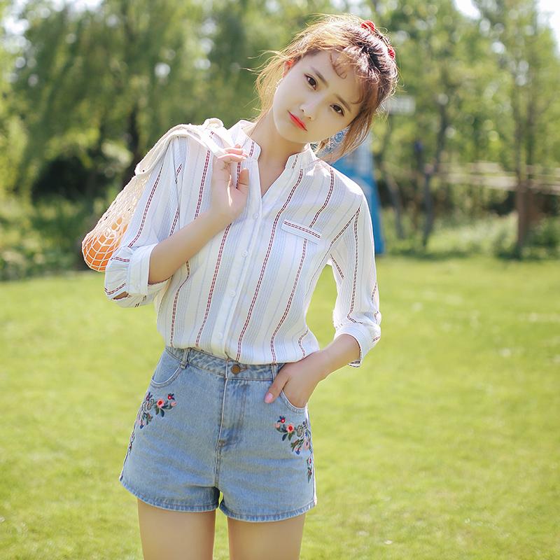 2019夏装新款短袖竖条纹雪纺衬衫女士韩版小清新宽松上衣学生衬衣