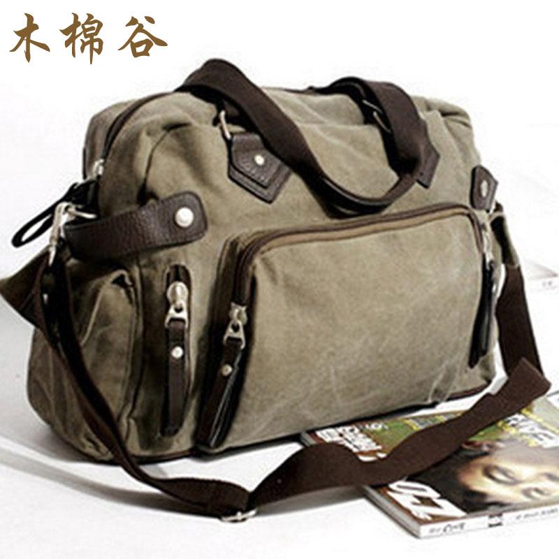 木棉谷潮流復古手提旅行包休閒帆布包 新款男包橫款單肩包斜挎包
