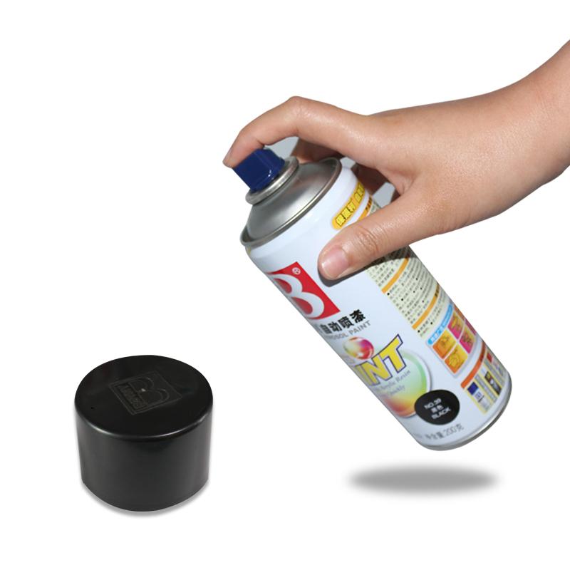保赐利自动喷漆电动摩托车汽车家具墙面涂鸦油漆手摇喷罐黑白银色