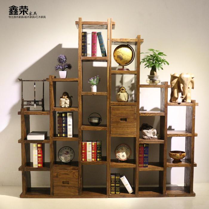 北方老榆木創意階梯櫃全實木書架組合隔斷背景牆書櫥玄關櫃多寶閣