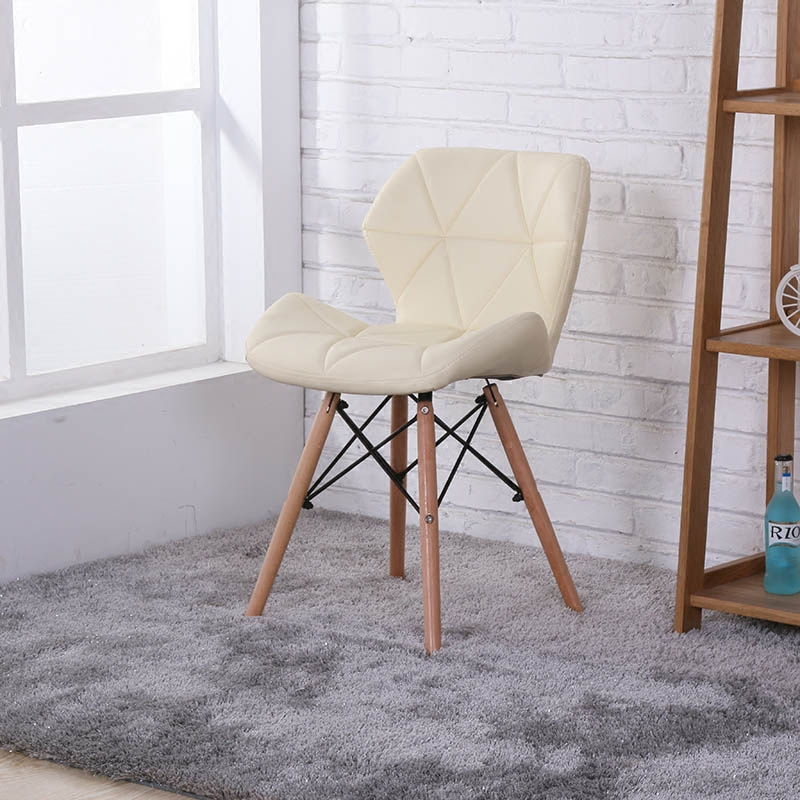 现代简约电脑椅实木皮革椅休闲咖啡椅创意靠背办公椅子餐桌椅家用