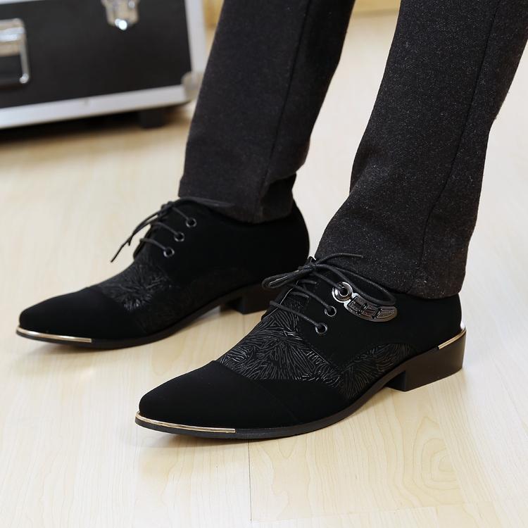 春秋季時尚潮流男士布面休閒皮鞋男士皮鞋韓版尖頭繫帶磨砂男鞋子