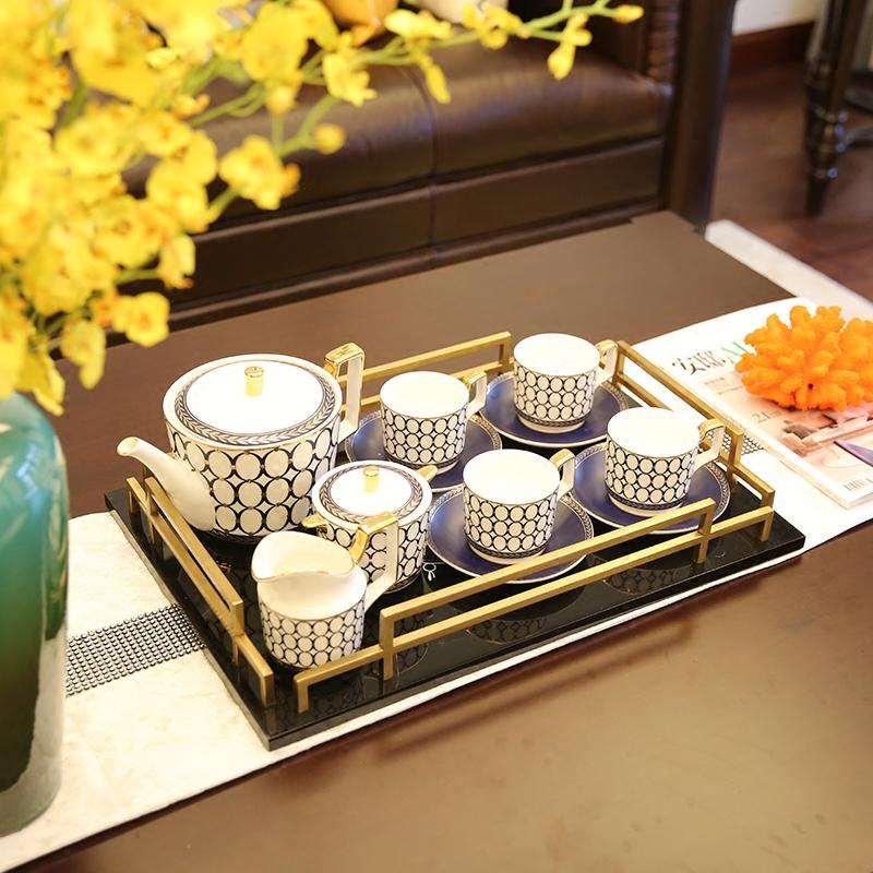 欧式陶瓷咖啡具套装美式样板房茶几摆件下午茶杯具桌面装饰品礼盒