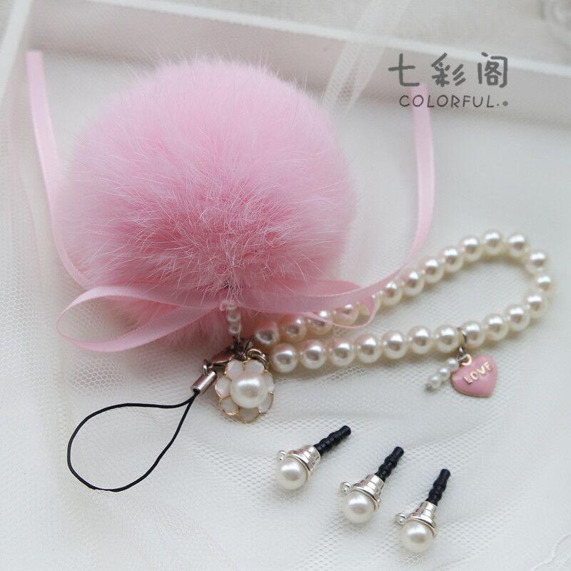 創意手機掛件飾品 韓國毛絨可愛兔毛球手機防塵塞吊墜鏈相機掛繩