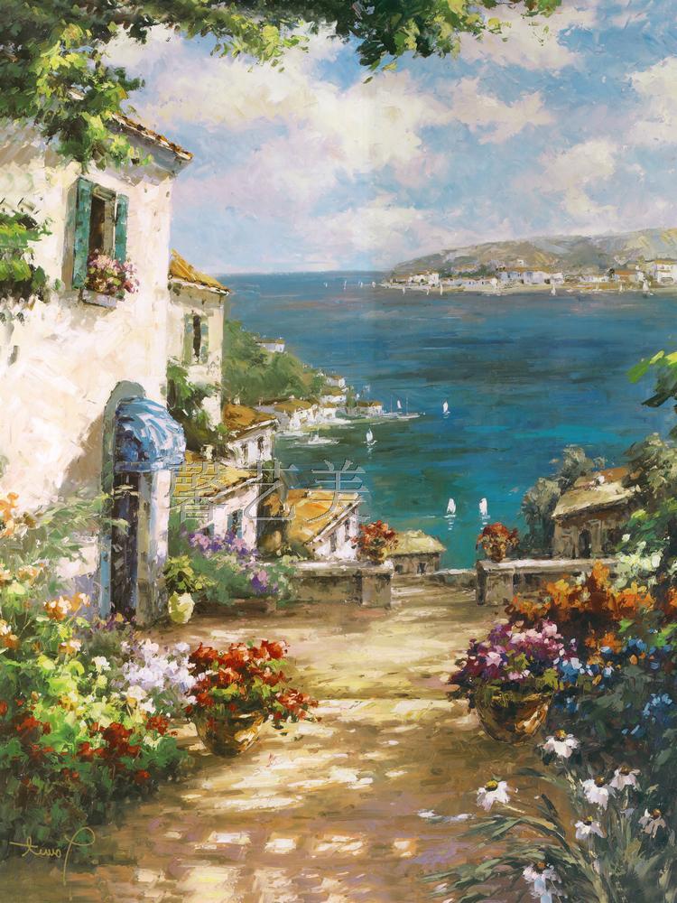 包邮玄关挂画走廊装饰画古典油画竖版地中海风景油画画芯竖画海景