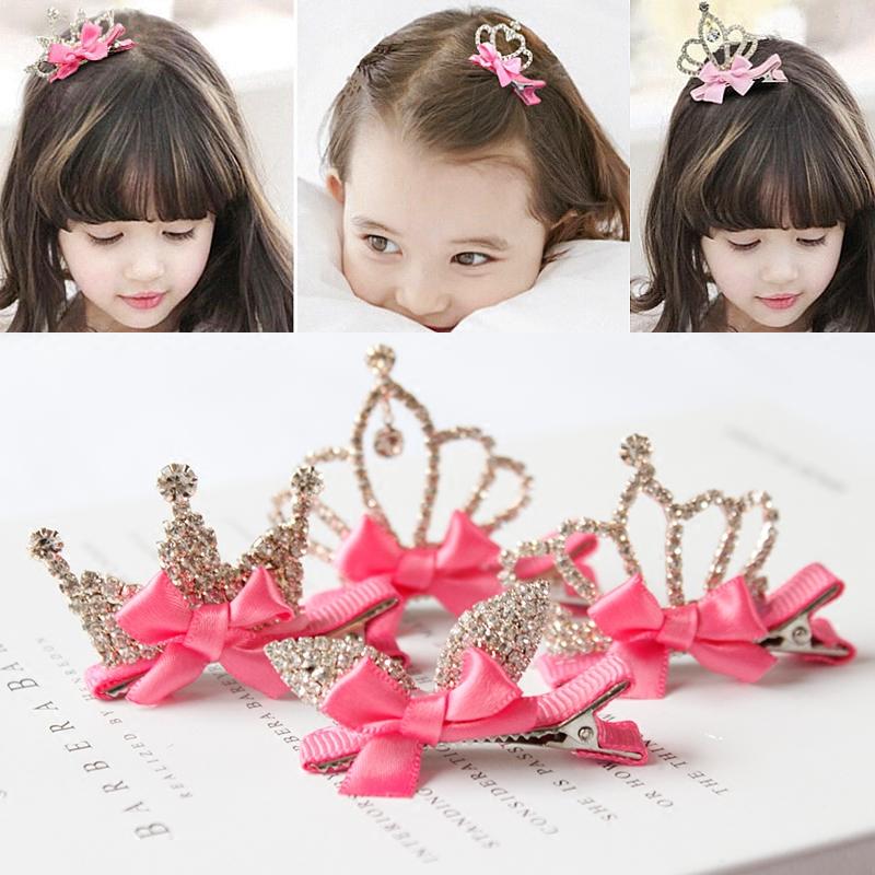 搭配兒童髮飾亮鑽蝴蝶結立體皇冠髮夾公主配飾女童頂夾