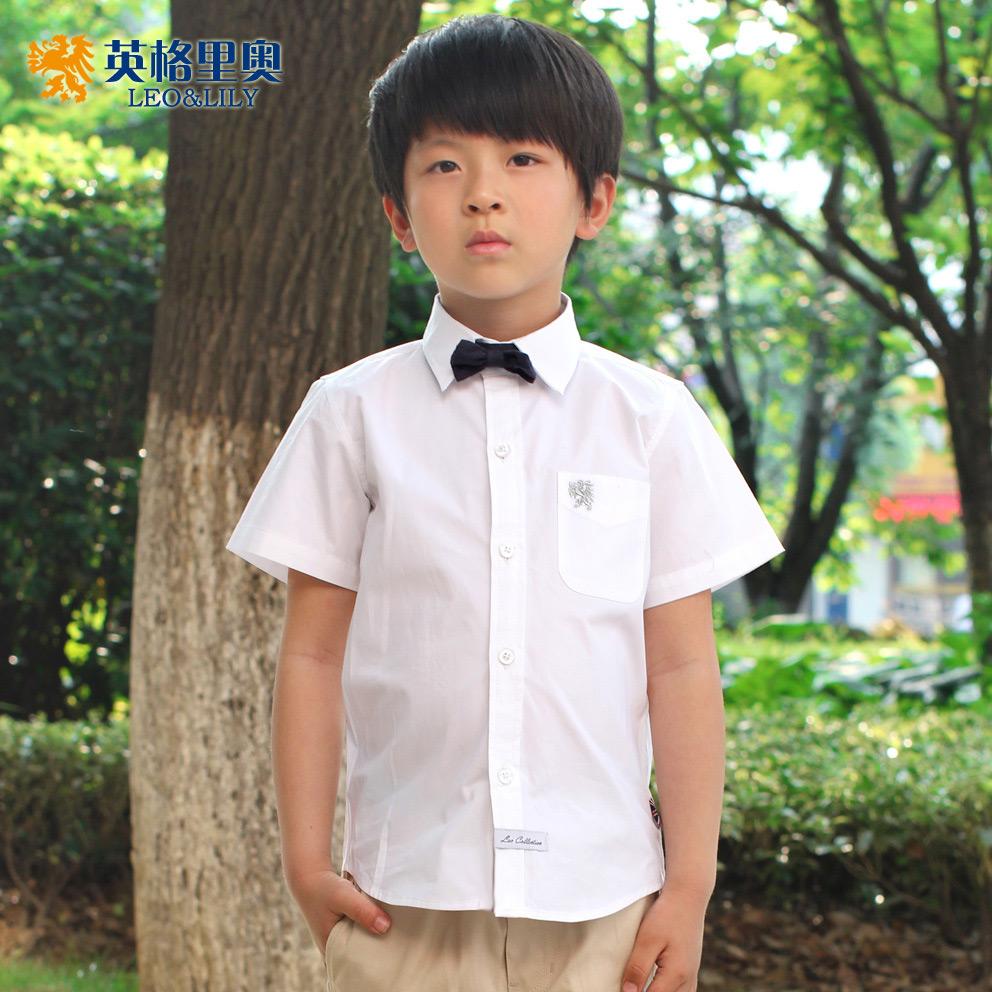 夏裝新款兒童短袖純棉白襯衫中大童襯衣男女童白色小學生演出校服