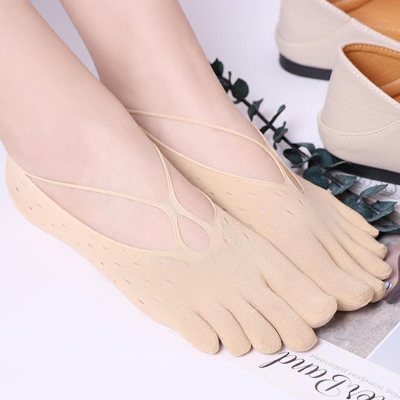 4双装五指袜女 夏季超薄镂空网眼交叉背带丝袜套浅口隐形吊带船袜