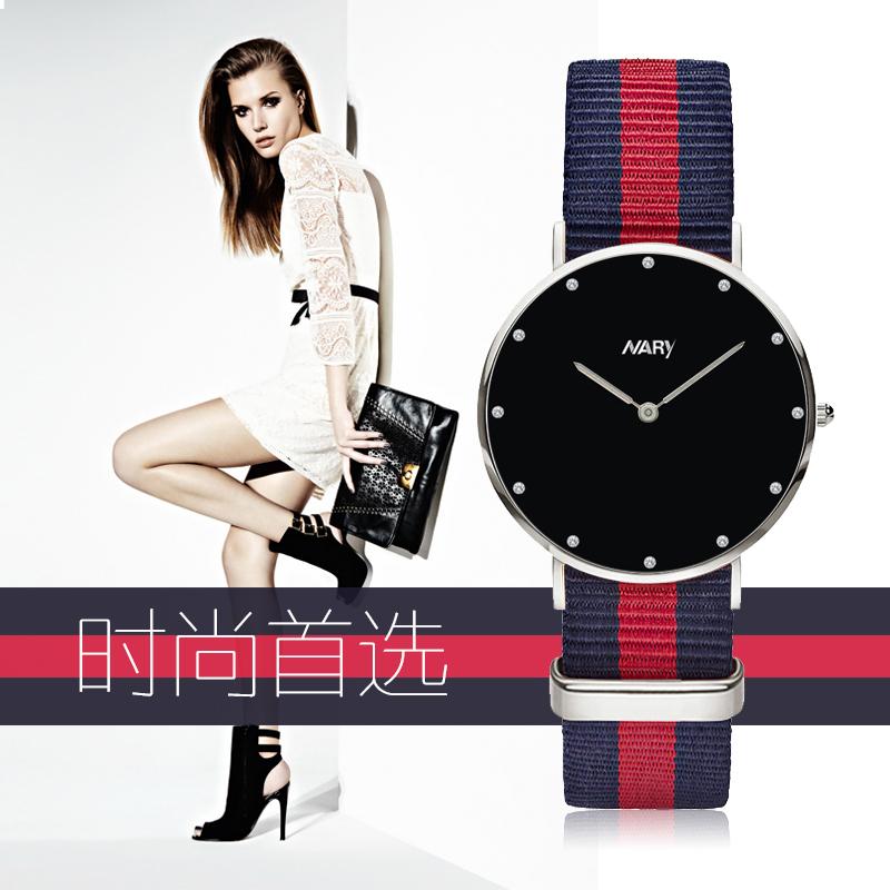 欧美男女尼龙色彩带式手表精美水钻潮男潮女复古超薄石英表