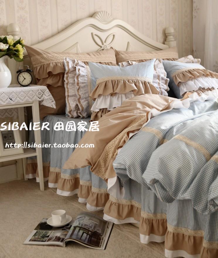 韓版新款**經典蘭格子嵌蕾絲荷葉邊工藝床上用品四件套(推薦)