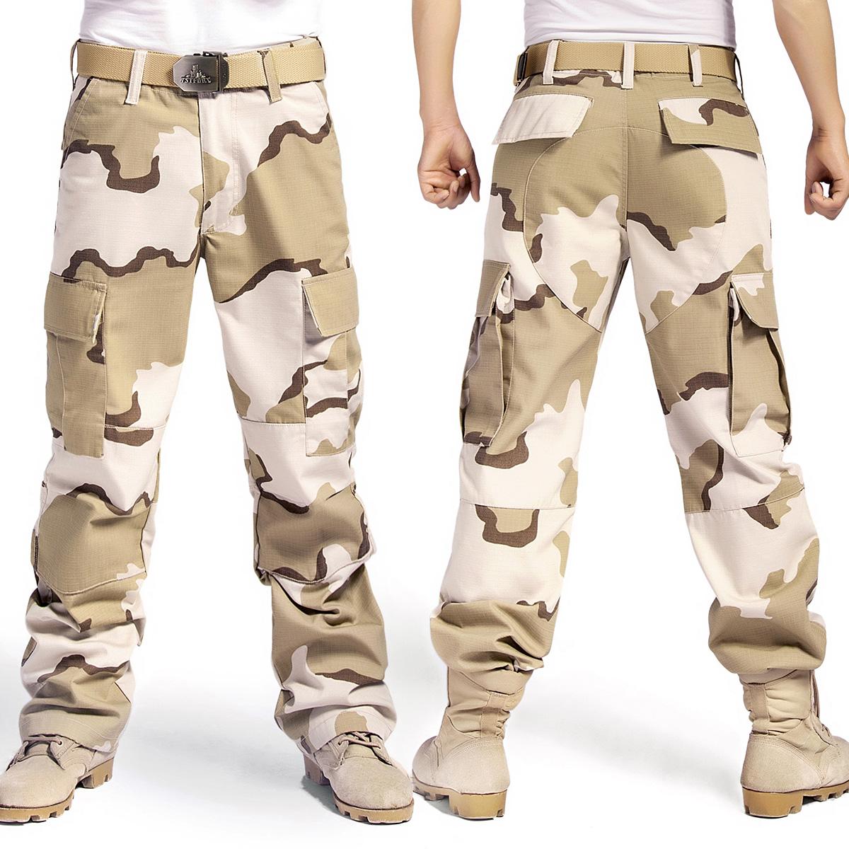 男款迷彩休閒褲大碼戶外春秋戰術寬鬆多口袋工裝褲潮牌束腳軍迷褲