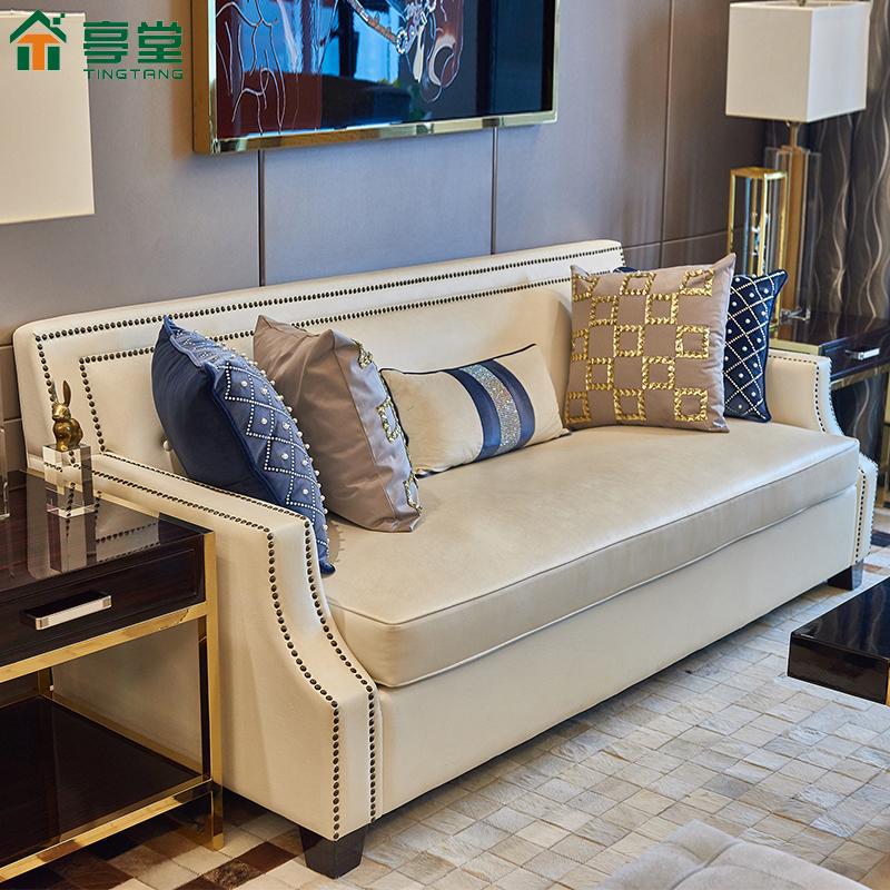 新古典后现代皮沙发三人简约港式轻奢风样板间小户型客厅家具定做