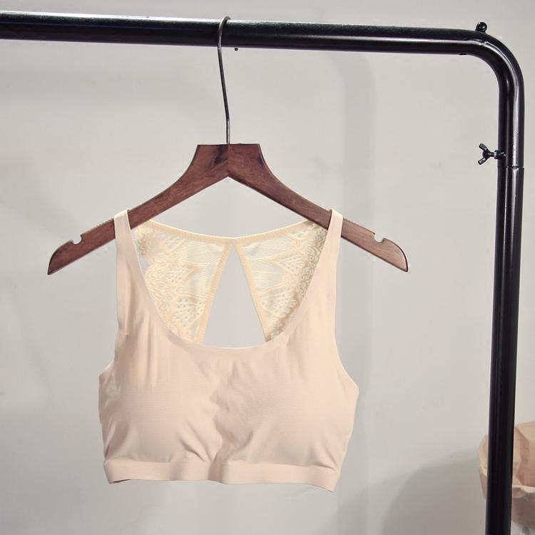 夏季无钢圈薄款透气抹胸式文胸蕾丝吊带背心裹胸纯色防走光内衣女
