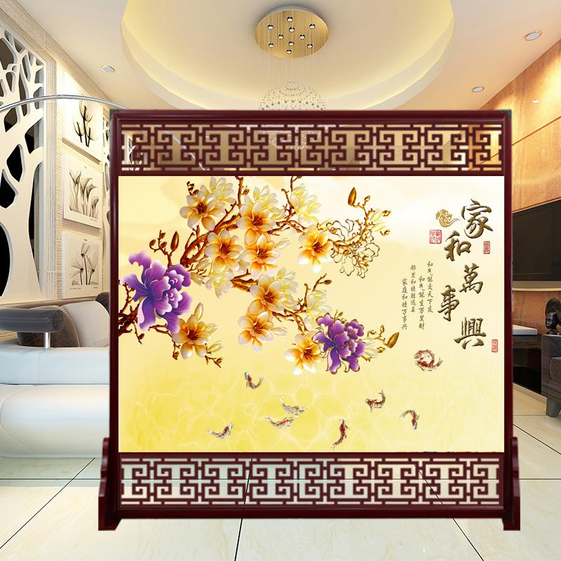 真尚美中式屏风卧室隔断办公室酒店客厅实木玄关镂空雕花复古座屏