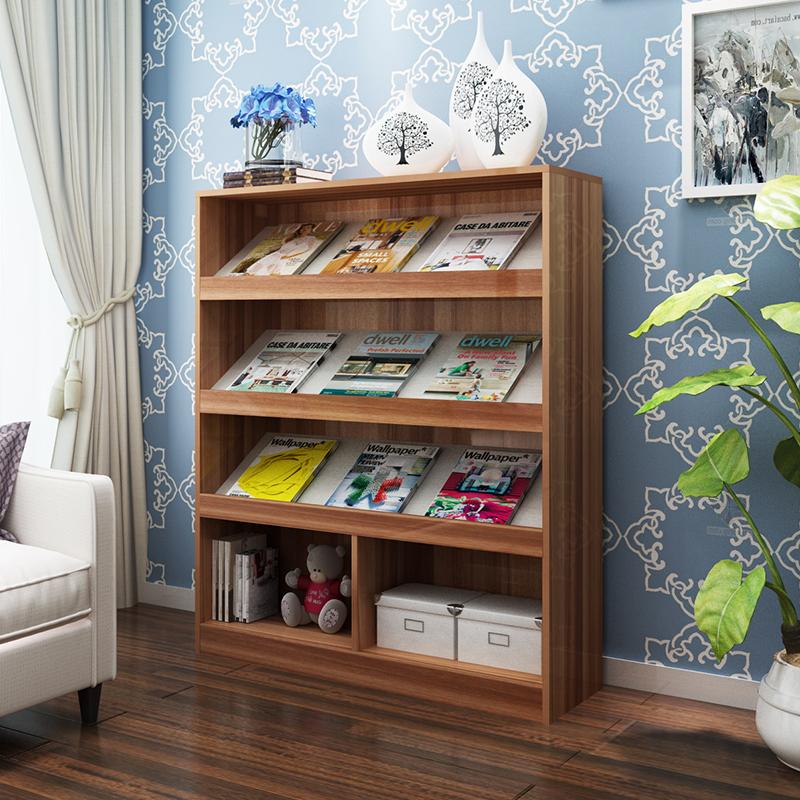 栖淑落地书报架报刊架儿童书柜书架置物架收纳杂志架创意展示架子