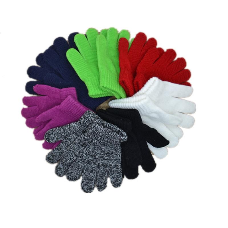 秋冬季纯色保暖儿童全指宝宝魔术针织幼儿园男童女童滑雪手套可批