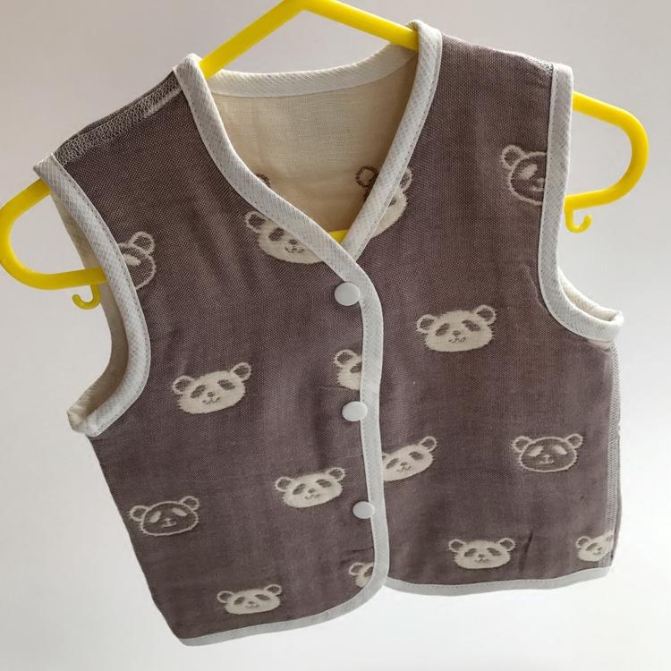 婴儿纯棉六层纱布马甲背心0-1-3岁春秋男女儿童宝宝六层无骨马夹