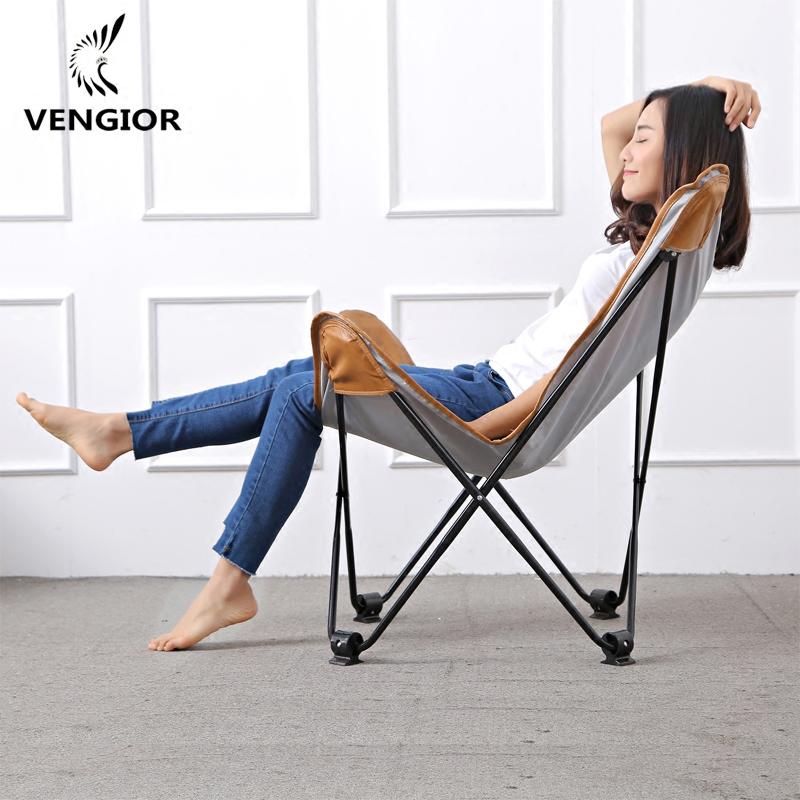 梵吉奥北欧简约皮革蝴蝶椅休闲折叠椅懒人沙发椅躺椅月亮椅非真皮