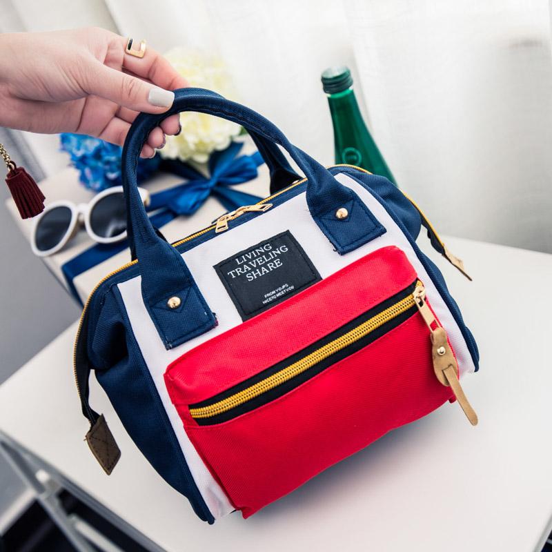 日本新款雙肩包手提女包帆布旅行包簡約學生書包男時尚揹包