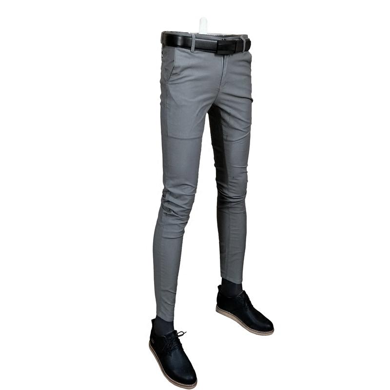 春装新款男士修身便裤纯色小脚裤长裤青年时尚休闲裤百搭男装裤子
