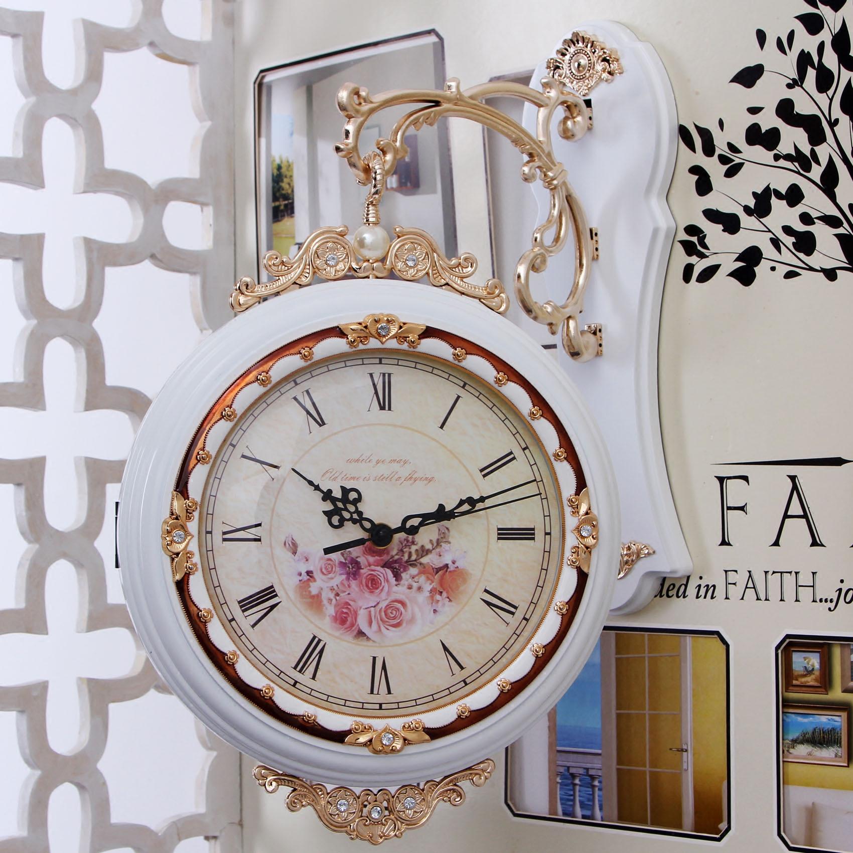 双面挂钟客厅时尚静音欧式创意双面钟表两面石英钟现代简约挂表