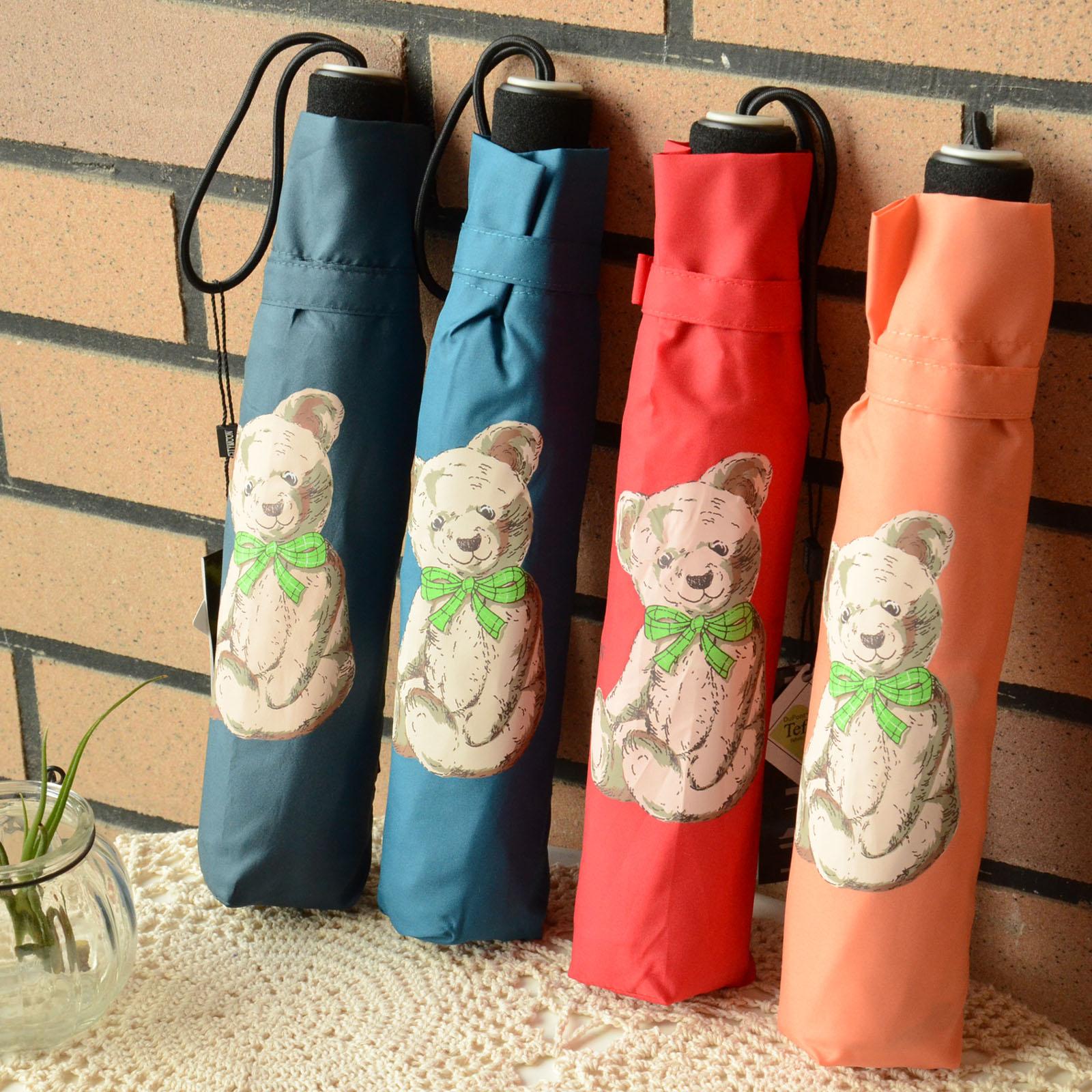 正品可愛泰迪熊傘小熊三折傘楓葉大熊傘 超防風碳纖維骨