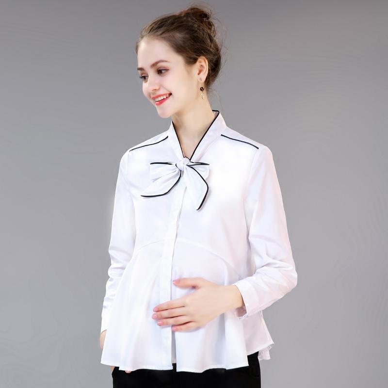 孕妇装2019春秋季新款职业工装孕妇衬衫女白色长袖衬衣秋装上衣