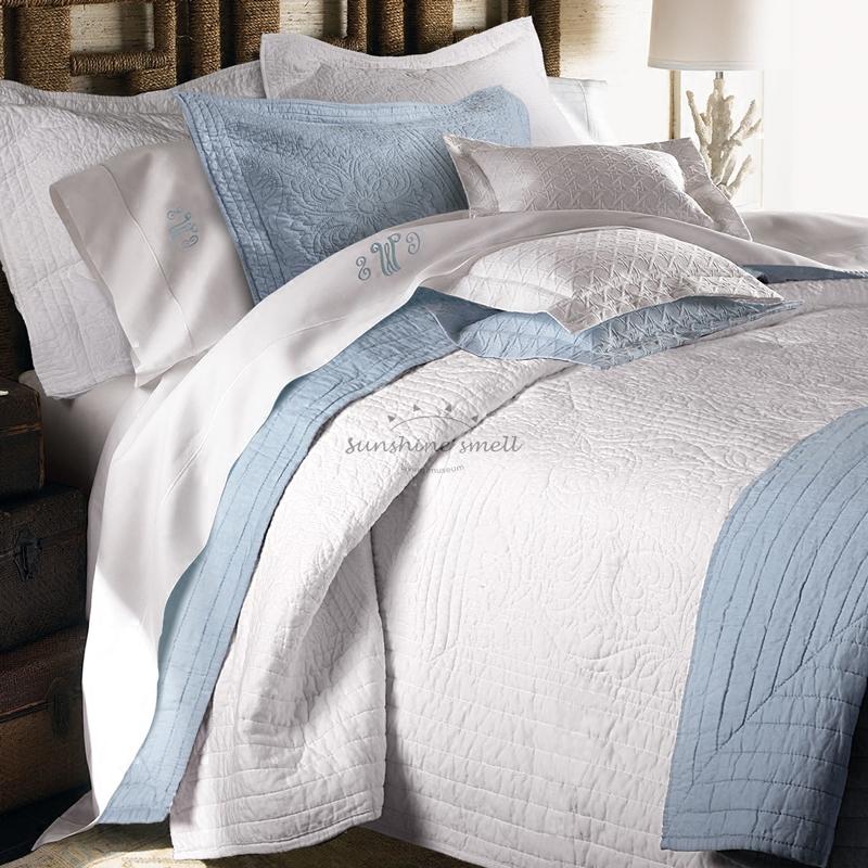 秋冬美式纯棉绗缝被 欧式全棉纯色夹棉夏凉被 床盖三件套床罩加厚