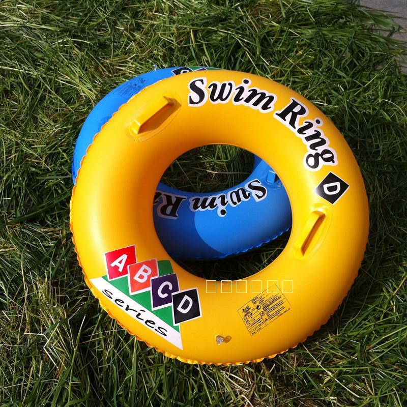 正品夏之戀 加厚成人帶把手游泳圈/大人泳圈 90CM泳圈 黃色藍色