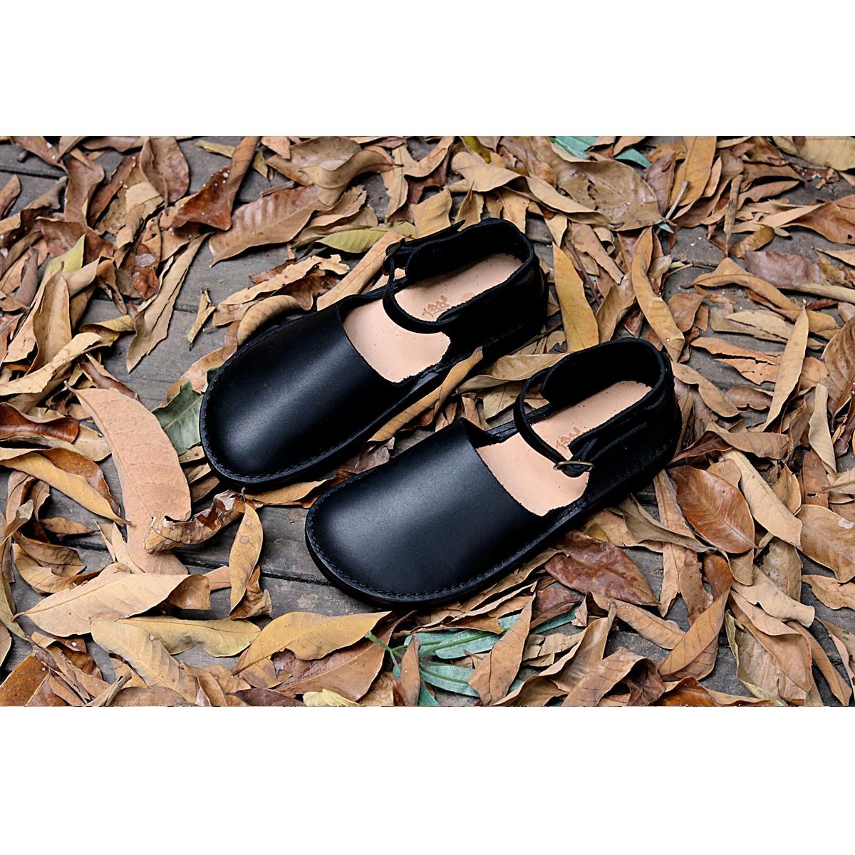一字款极光鞋 森系复古文艺包头娃娃鞋女 手工牛皮凉鞋 有鹿森品