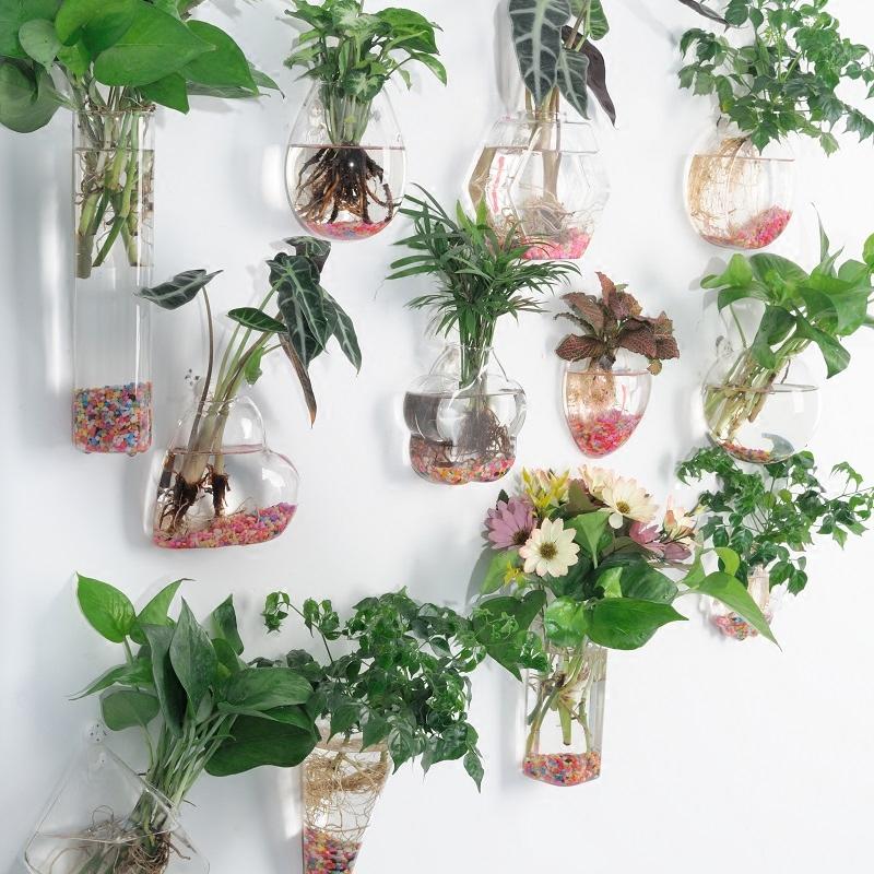创意水培玻璃花瓶悬挂式透明插花盆绿萝壁挂小鱼缸简约现代小花瓶