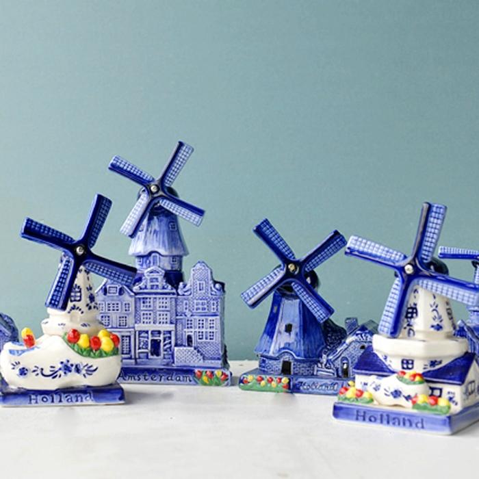 葉片會轉荷蘭風車陶瓷手工繪畫工藝品新品出口歐洲風車家居擺件