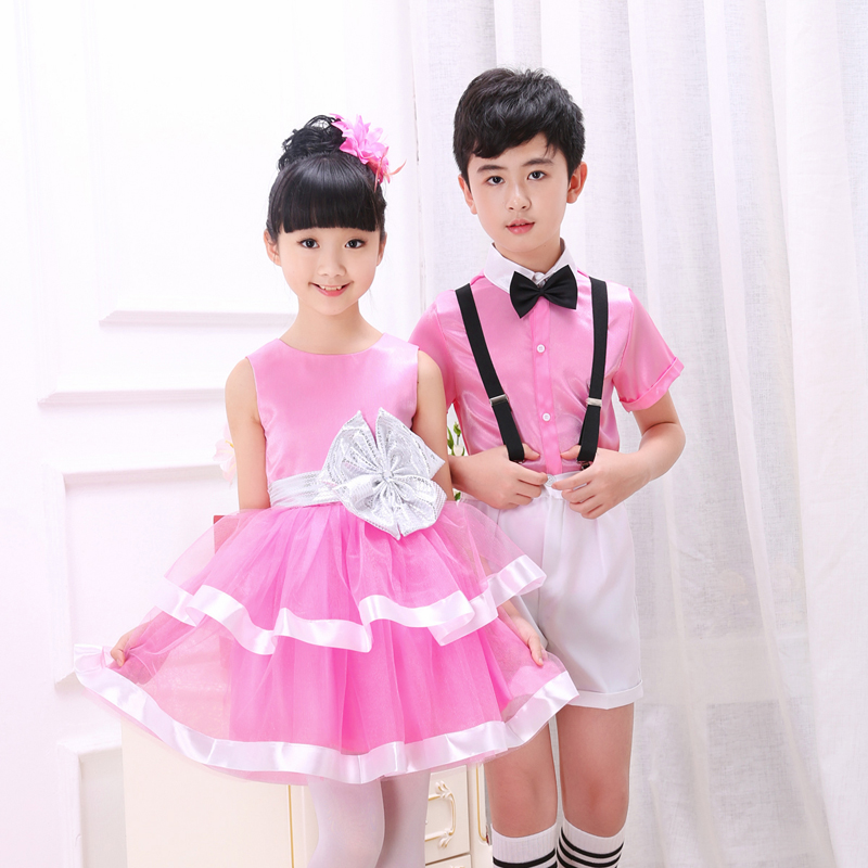 长袖儿童演出服女童男童背带裤朗诵大合唱团舞蹈裙小学生表演服装