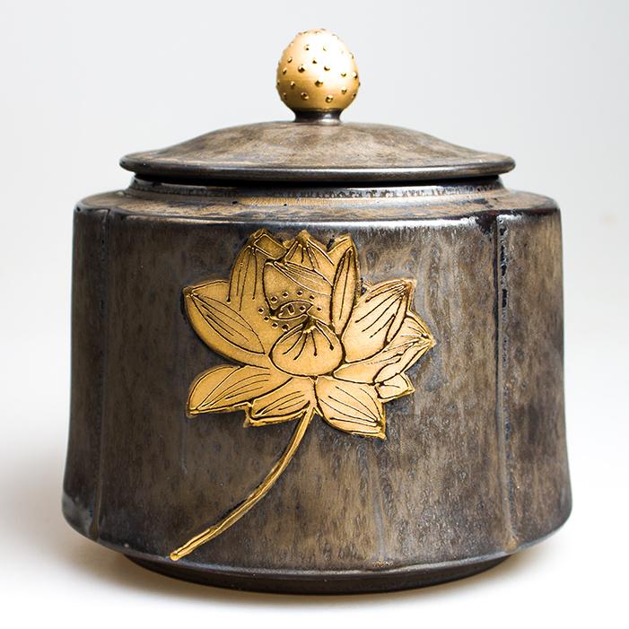 拾趣閣日式粗陶茶葉罐綠茶密封大茶葉罐 陶瓷普洱罐金屬質感 包郵