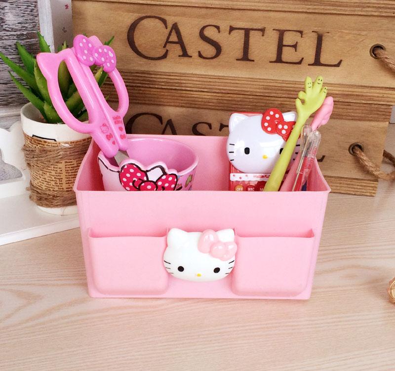 hello kitty KTPU桌面收納盒 桌面整理盒桌面雜物盒遙控器盒 粉色