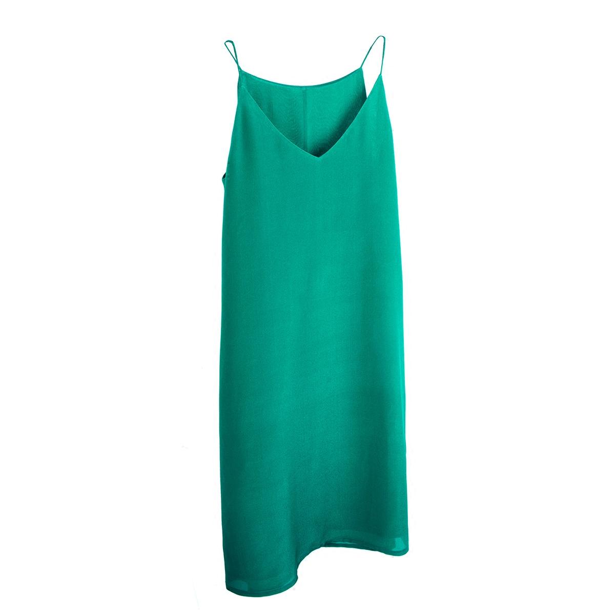 原隐夏复古优雅小香绿色v领外穿中长款打底裙吊带裙真丝连衣裙女